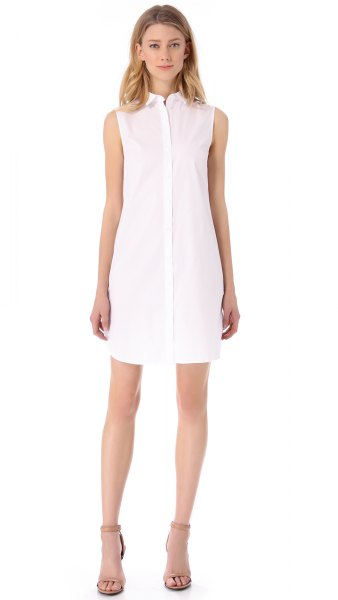 white chiffon sleeveless shirt dress pale pink open toe heels