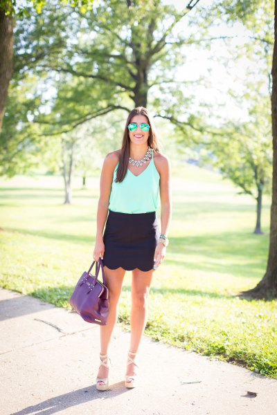 white chiffon vest top black mini scallop skirt