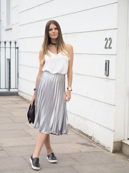 white chiffon vest top silver pleated skirt