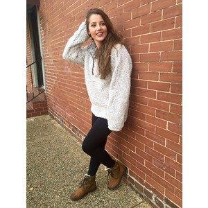 white chunky quarter zip pullover black leggings