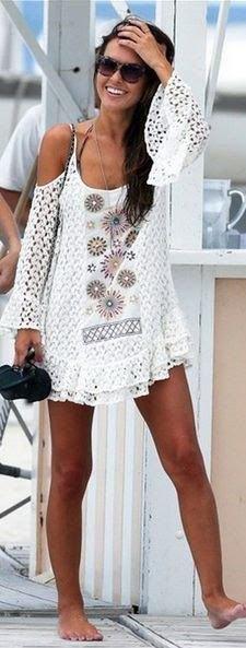 white cold shoulder crochet cover up dress