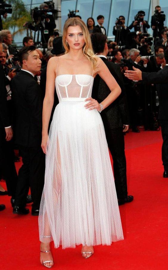 white corset dress red carpet