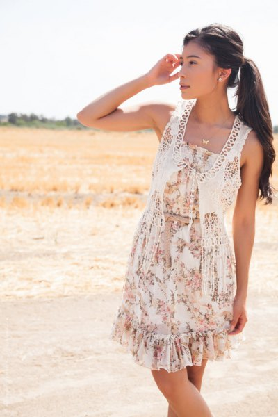 white crochet lace vest floral gathered waist floral mini dress