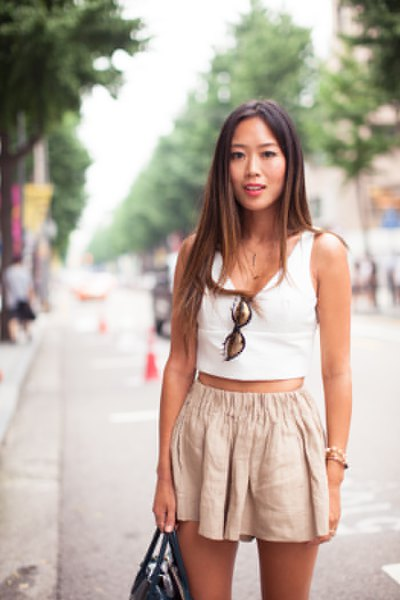 white cropped vest top pale pink flared mini shorts