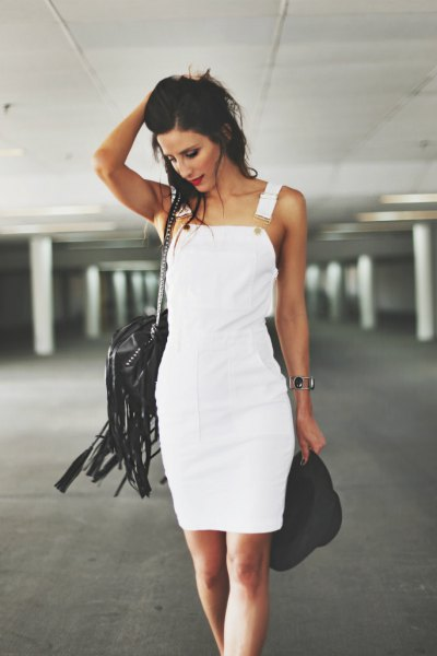 white denim overall dress