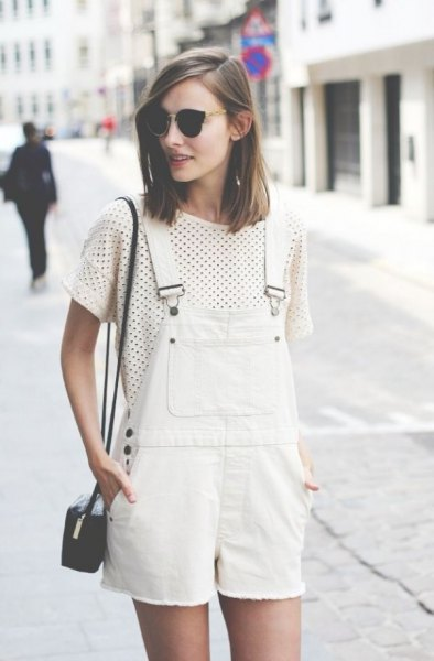 white denim overall shorts polka dot t shirt