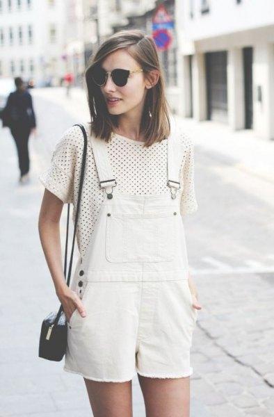 white denim overall shorts polka dot t shirt