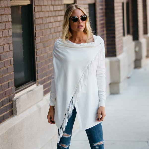 white fringe wrap ripped jeans