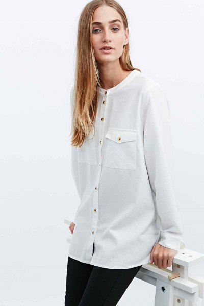 white front pocket grandad collar shirt