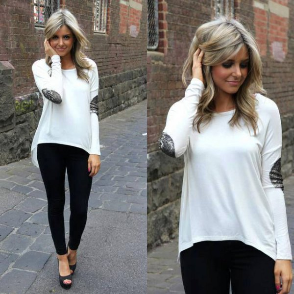 white high low elbow patch sweater leggings