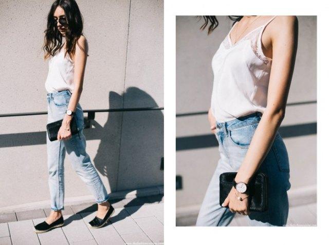 white lace camisole boyfriend jeans