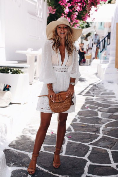 white lace semi sheer mini flare cover up dress