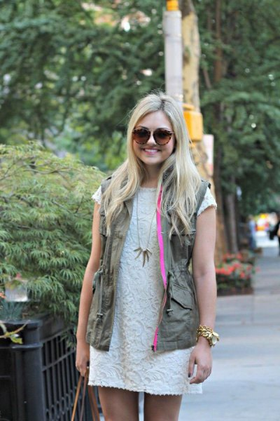 white lace shift dress green cargo vest
