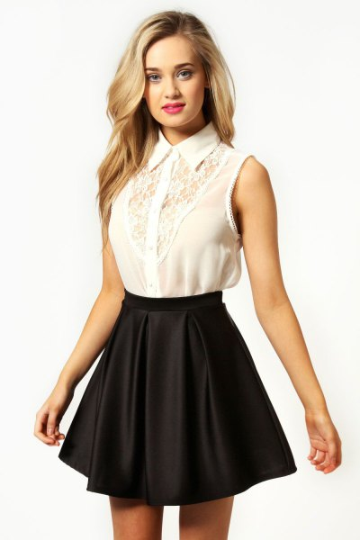 white lace sleeveless shirt black silk skater skirt
