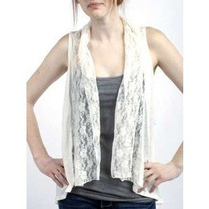white lace vest grey tube top