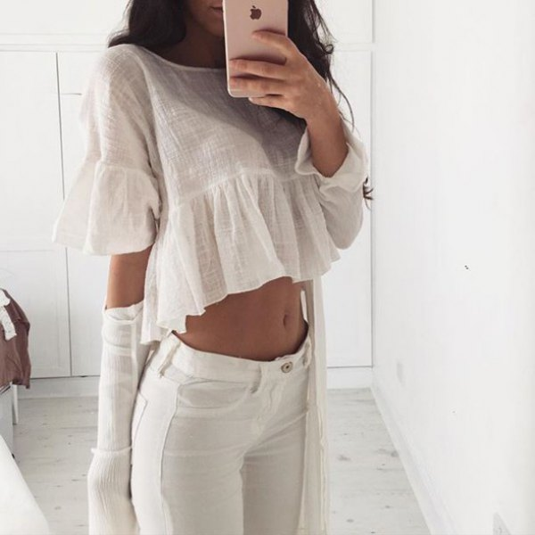 white linen ruffle blouse jeans