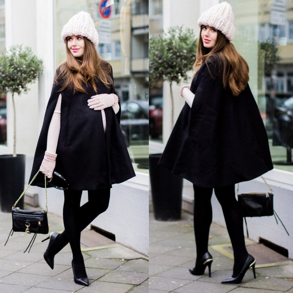 white long sleeve form fitting tee black cape coat