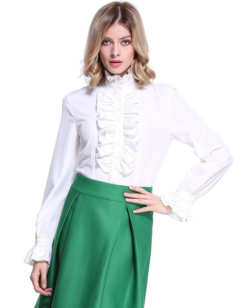 white lotus ruffle blouse olive green high waisted midi skirt