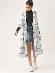 white maxi floral shrug denim mini skirt