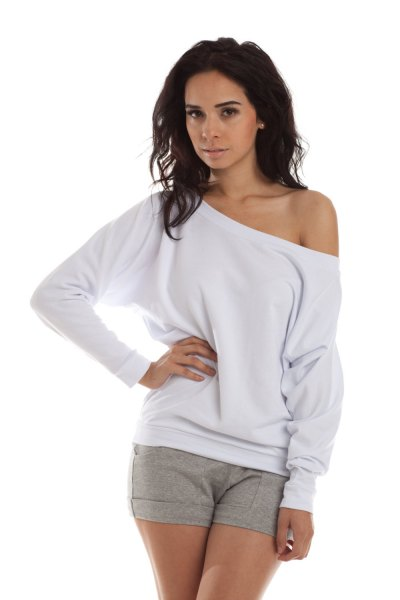 white off shoulder sweatshirt grey mini cotton shorts