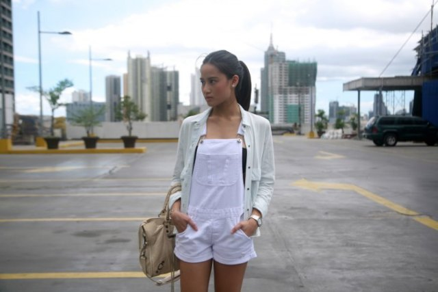 white overall shorts linen shirt