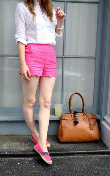 white patterned shirt pink shorts