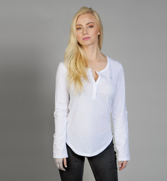 white relaxed fit long sleeve shirt