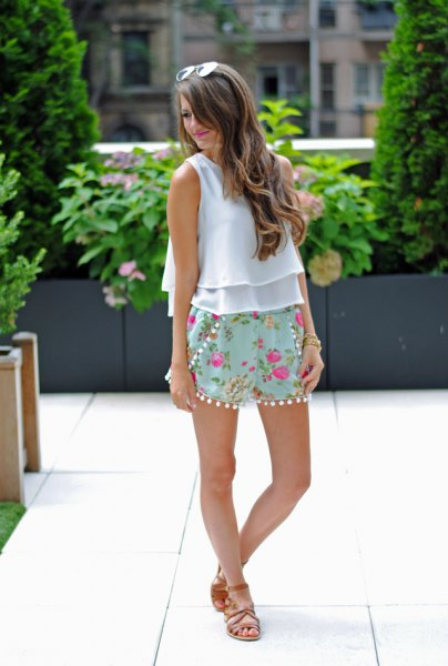 white ruffle chiffon sleeveless top pink embroidered flowy shorts