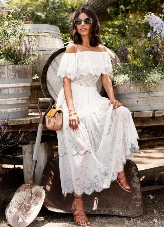 white scalloped dress bohemian