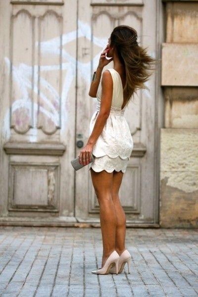 white scalloped dress elegant
