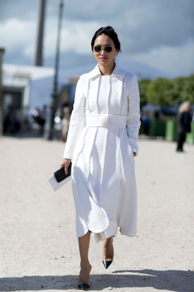 white scalloped dress street style