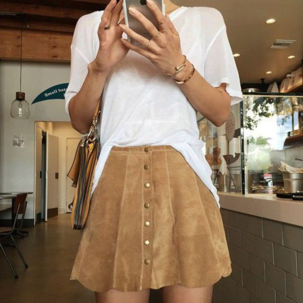 white semi sheer top brown button front suede scallop skirt