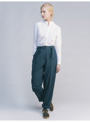 white shirt grey wide leg chinos
