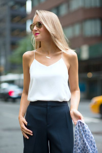 white silk camisole navy wide leg chinos