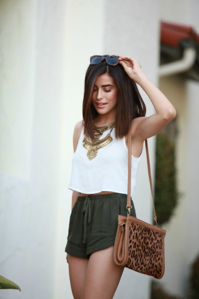 white sleeveless cropped top boho style necklace