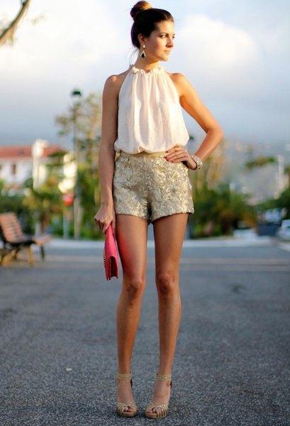 white sleeveless halter blouse gold sequin shorts