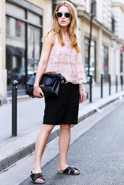 white sleeveless lace top black pencil skirt