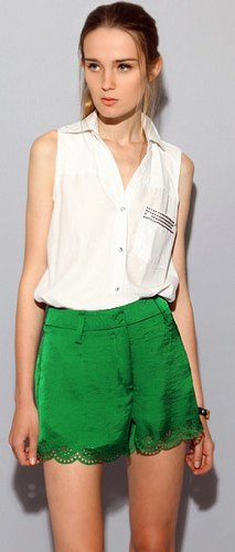 white sleeveless shirt green silk and lace scalloped shorts