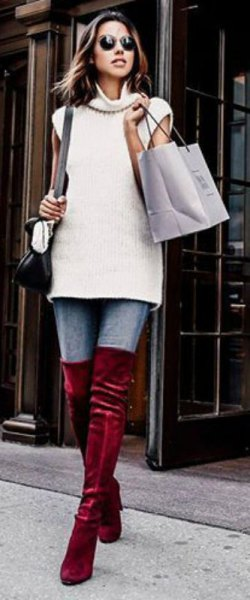 white sleeveless turtleneck sweater burgundy velvet over the knee boots