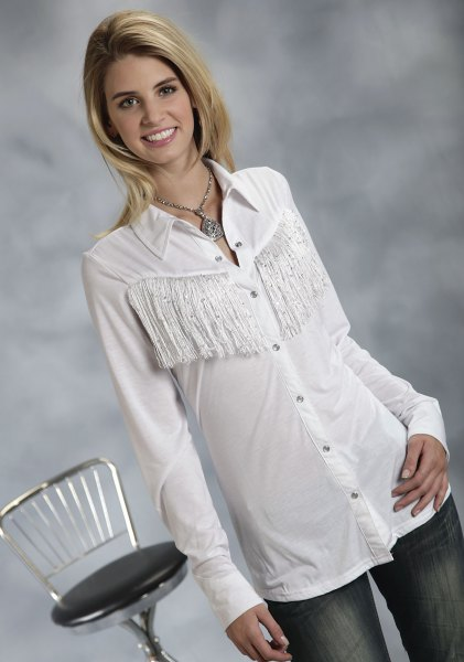 white slim fit fringe shirt with jeans