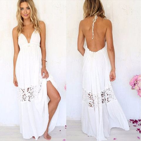 white sweetheart neckline backless maxi beach dress