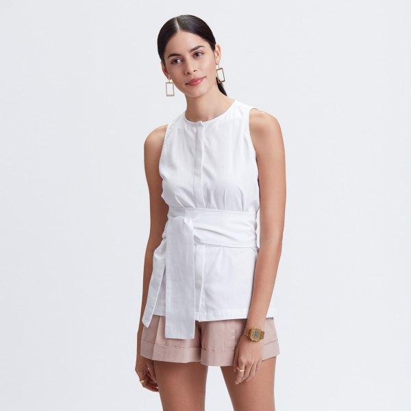 white tie waist sleeveless shirt pink mini shorts
