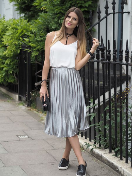 white vest top silver pleated midi skirt