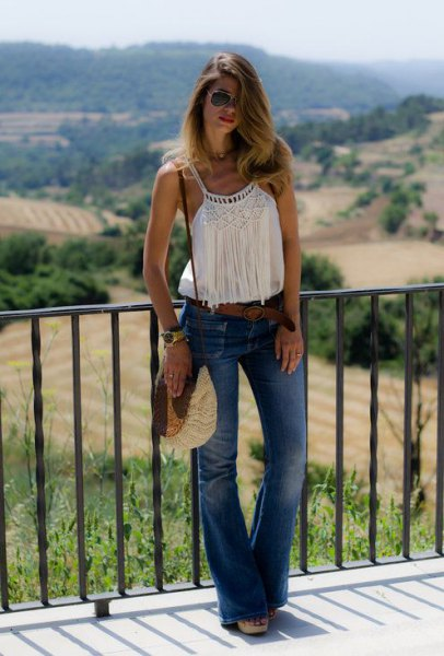 white vest top with fringe details