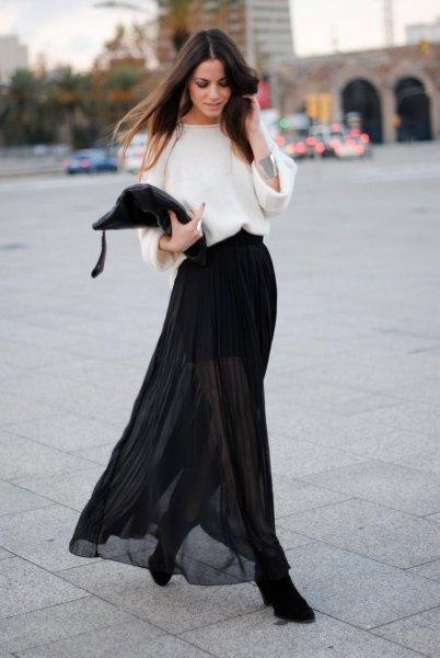 white wide sleeve sweater black sheer skirt