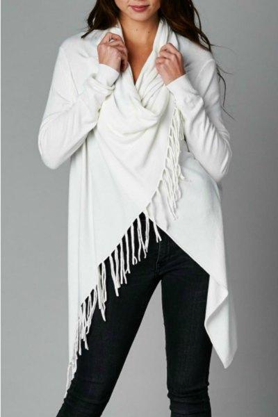 white wrap black skinny jeans