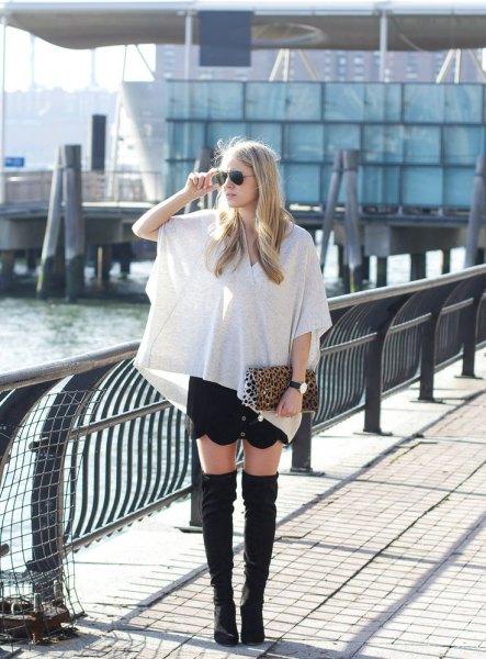 white wrap top black mini skirt