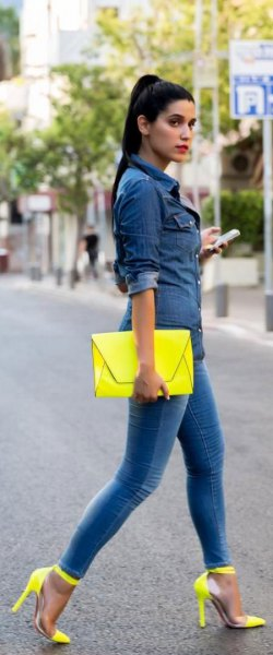 yellow ankle strap heels matching leather clutch bag
