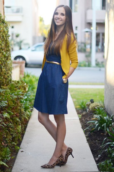 yellow bolero sweater blue belted flared mini dress