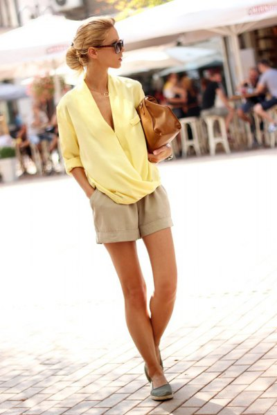 yellow chiffon wrap blouse pink linen shorts